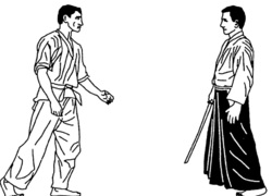 Lesson 31 Gaku, Hanmi katate the tories Ricky with a sword